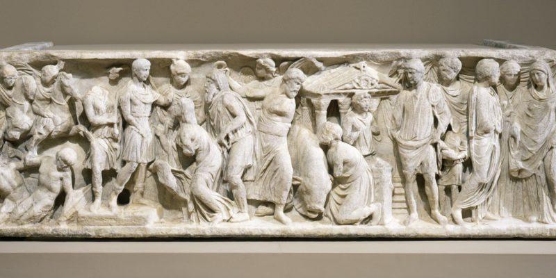 Front of a vita humana sarcophagus